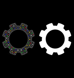 Flare mesh 2d gear icon with flare spots vector