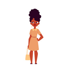 Flat black african woman dissatisfied angry vector