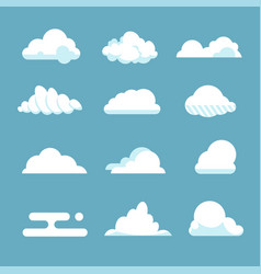 flat sky cloud blue fluffy cartoon shapes white vector image