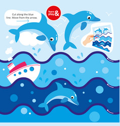 game cut scissors along blue line dolphin in sea vector image