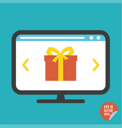 Gift on screen flat icon for vector
