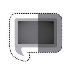 grayscale sticker of rectangular speech with tail vector image
