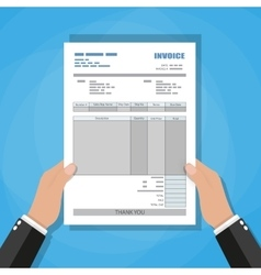 Hands unfill paper invoice form receipt bill vector