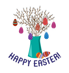 happy easter cartoon cute flat vase with spring vector image