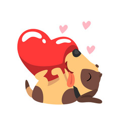 Happy jack russell terrier dog with red heart vector