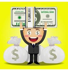 Happy man carrying big stack money vector
