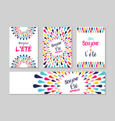 Hello summer french greeting card label set vector