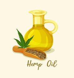 hempseed or hemp oil in bottle near seeds vector image