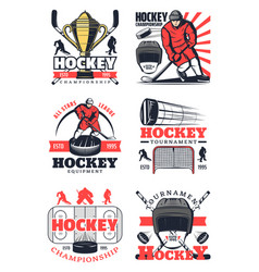 hockey sport game tournament players icons signs vector image