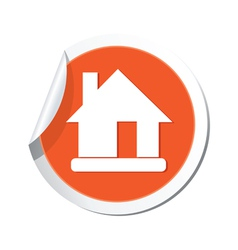 Home icon orange sticker vector