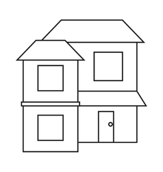 Home two floor out windows brown roof outline vector