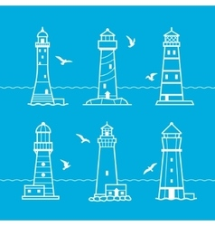 Icon or logo set of white lighthouses vector