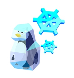 Icon penguin and ice vector