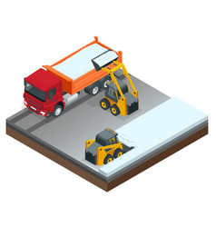 isometric compact excavators small excavator vector image