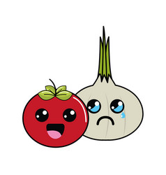 Kawaii happy tomato and sad garlic icon vector