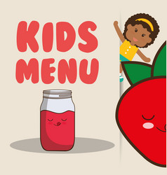 kids menu girl juice strawberry nutrition poster vector image