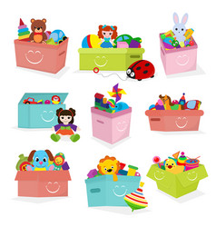 Kids toys box bacontainer with toyshop vector