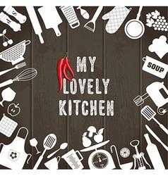Kitchen set icon on wooden texture vector