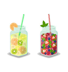 Liquid dieting drinks set vector