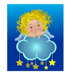 Little angel on a cloud vector