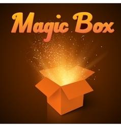 Magic Box with Confetti and Magic Light Realistic vector image