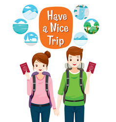 male and female backpackers traveller vector image