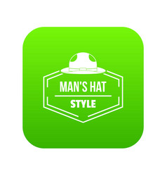 Man hat icon green vector