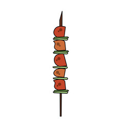 meat on stick vector image