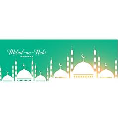 Milad un nabi nice mosque banner design vector