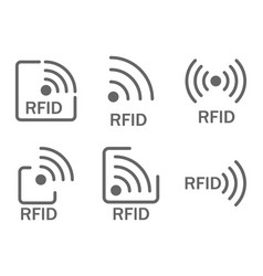 Monochrome set of icons rfid set of icons vector