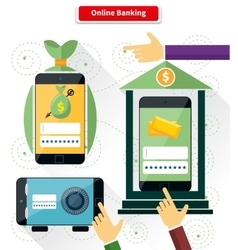 Online Banking Flat Style Design vector