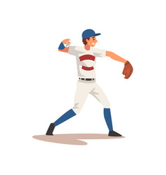 pitcher throwing ball baseball player character vector image