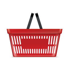plastic red basket supermarket and store container vector image