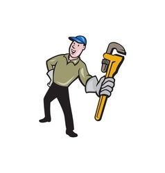Plumber Presenting Monkey Wrench Isolated Cartoon vector