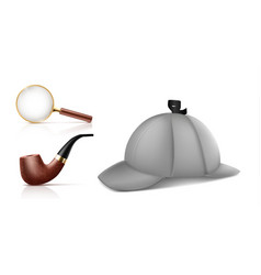 private detective accessories realistic set vector image