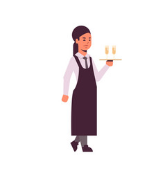 professional waitress holding serving tray with vector image