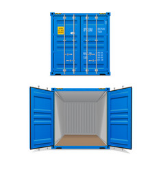 realistic set bright blue cargo containers vector image