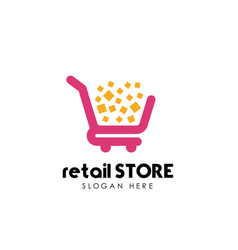 Retail store logo design template shopping cart vector