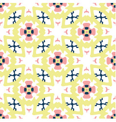 retro daisy floral pattern hand drawn vector image