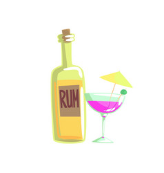 Rum bottle and cocktail glass with umbrella vector