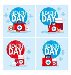 Set cards world health day vector