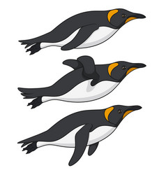 set color with penguins swimming vector image