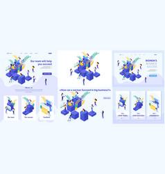 Set isometric article landing page app design vector