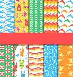 Set of 10 seamless bright summer patterns vector