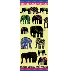 Set of decorative elephants vector