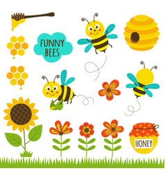 Set of isolated funny bees and icons vector