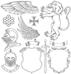 Set of knight heraldic elements vector
