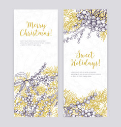 set of vertical christmas banner templates with vector image