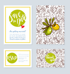 Set of wedding cards invitations vector