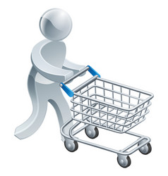 Shopping trolley silver person vector